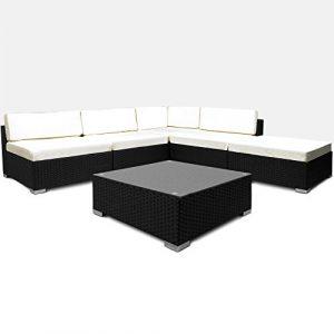 Poly Rattan Lounge Set Creme Schwarz XXL ✔ 5cm dicke Rückenkissen ✔ Einzelelemente flexibel kombinierbar ✔ UV-beständiges Polyrattan ✔ Sitzgarnitur Couch Sitzgruppe ✔ Modellauswahl