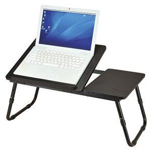Laptoptisch schwarz als Tabletttisch fürs Bett oder Sofa aus Holz – Tablet-Halterung faltbar für Laptop oder Bücher – Betttisch höhenverstellbar ca. 60 x 34 x 25 cm