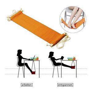 StillCool fußhängematte Fußstütze – Setzen Sie Ihren Fuß auf der Hängematte unter dem Schreibtisch Verstellbar bequem für Ihr Fuß büro (Orange)