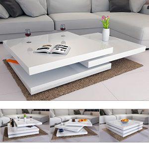 Couchtisch Wohnzimmertisch Hochglanz Beistelltisch Tisch Sofatisch Tischplatte 360° drehbar – Farbe Weiß