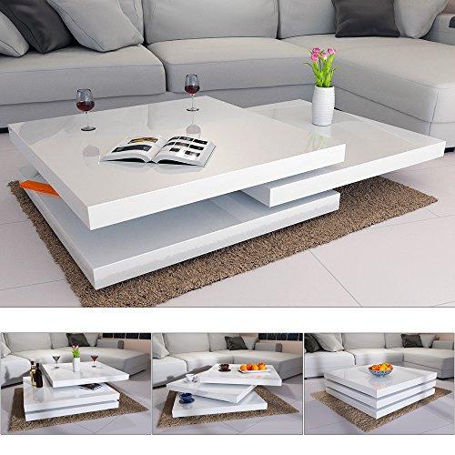 Couchtisch Wohnzimmertisch Hochglanz Beistelltisch Tisch Sofatisch Tischplatte 360° drehbar - Farbe Weiß