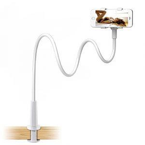 Enllonish 90cm Handyhalter, handy halterung Schwanenhals Halter Universal Ständer für iPhone Smartphone Handy Tablet 360° Drehen (Weiß) (Holder For Phone)