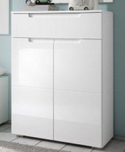 AVANTI TRENDSTORE – SPILLA – Schuhkommode mit 1 Schublade und 2 Türen, weiß / weiß Hochglanz Dekor, ca 70x101x40cm