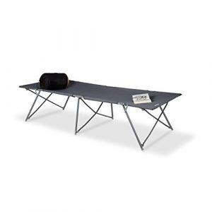 Relaxdays Feldbett faltbar XXL, Campingliege extra hoch, bis 120 kg belastbar, HBT: 50 x 80 x 215 cm, Transporttasche, grau