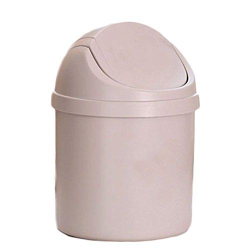 Mini-Mülleimer von Leisial, kreativer Schreibtisch-Abfalleimer für zuhause in der Küche oder als Aufbewahrungsbox im im Büro, plastik, beige, Einheitsgröße