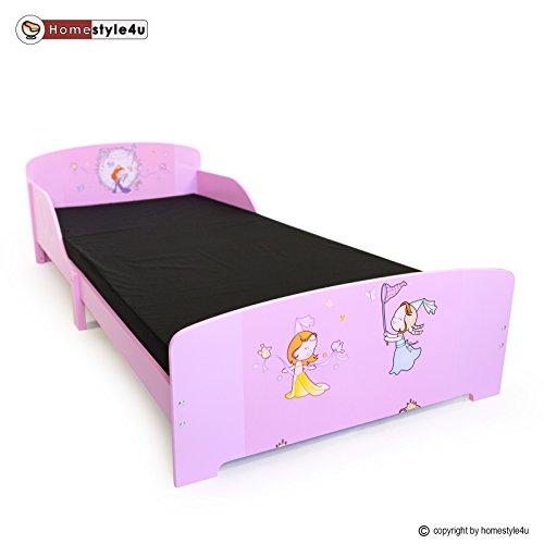 Homestyle4u Kinder Kleinkind Kids Junior Bett mit Prinzessin Motiv, Holz, mehrfarbig, 30x 30x 30cm