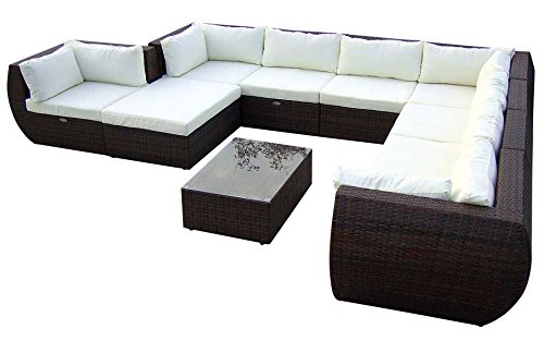 Baidani Gartenmöbel-Sets 10c00015.00001 Designer XXL Sofa Extreme, Hocker mit Auflage, Couch-Tisch mit Glasplatte, schwarz