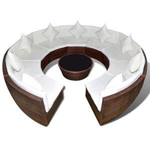 vidaXL Poly Rattan Lounge Gartenmöbel Sofa Set Tisch Sitzgarnitur Ess Sitzgruppe rund