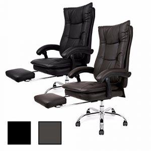 Bürostuhl mit Fußstütze Kunstleder Schreibtischstuhl Chefsessel Drehstuhl (Schwarz)
