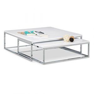 Relaxdays Couchtisch Holz FLAT 2er Set weiß lackiert HBT 27 x 80 x 80cm großer Wohnzimmertisch passt ineinander als Satztisch flacher Beistelltisch mit Chrom-Metall als Sofatisch und Kaffeetisch, weiß