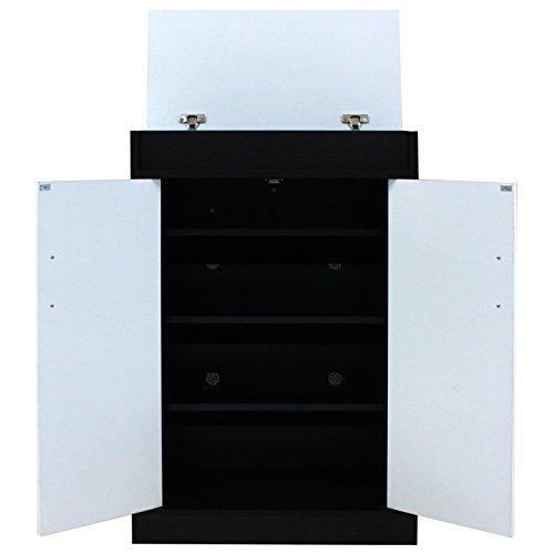 Schwarz Weiß oder Buche weiß Schuhschrank Rack Schrank–4Ablagen + 1oben offen (Buche) schwarz