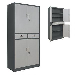4er Set Spind Büroschrank 180 x 85 x 40 cm Mehrzweckschrank mit Schubläden und Einlegeböden Schließfachschrank Wertfachschrank Ordnerschrank Metallschrank, Farbe:Dunkelgrau – Grau