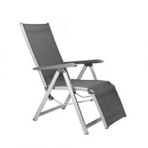 Kettler Basic Plus Advantage Relaxliege Aluminium – praktische Klappliege – Liegestuhl verstellbar & leicht zusammenklappbar – wetterfeste Gartenmöbel – silber/anthrazit
