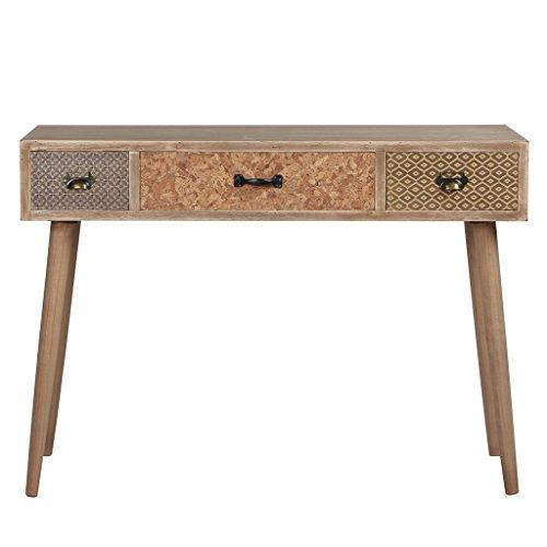 Viva Home Konsolentische Holztisch Beistelltisch, 104 x 40 x 75 cm, Ablagetisch Frisiertisch mit 3 Verschiedenen Schüben, Farbe dunkelbraun