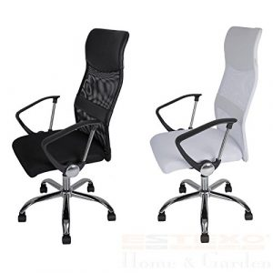 Bürostuhl MESH Farbe wählbar – Drehstuhl Schreibtischstuhl Chefsessel Bürosessel Stuhl (Weiß)