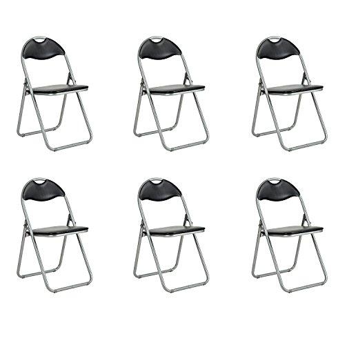 Klappstühle fanilife Set von 6Metall Faltbare Esszimmerstühle mit PVC Sitz Retro Office Empfang Garten, der faltbar Schreibtisch-Stühle schwarz