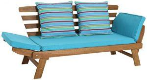 greemotion Multifunktionsbank Borkum akazie/blau, inklusive Kissen, als Sofa und Liege nutzbar, Gartenbank aus FSC® Akazienholz, Holzbank mit leicht schräger Rückenlehne