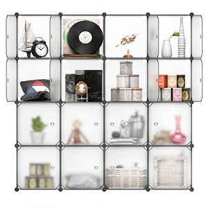 LANGRIA Schuhschrank Stufenregal 16-Kubus Modular Garderobenschrank Lagerregal Kleiderschrank für Kleidung, Schuhe, Spielzeug und Bücher Weiß