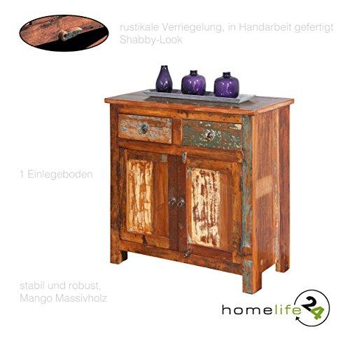 Unikat Kommode in Handarbeit gefertigt mit 2 Schubladen 2 Türen mit Regale mehrfarbig im Shabby Chic Vintage Look aus 100 % recyceltem Mangoholz Massivholz für das Wohnzimmer Schlafzimmer Flur
