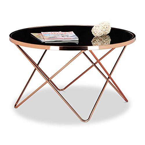 Relaxdays Beistelltisch COPPER aus Kupfer und Schwarzglas groß HBT: 49 x 85 x 85 cm Glas Couchtisch in edlem Design als Glastisch und Sofatisch modern geschwungen mit Glasplatte, kupferfarben