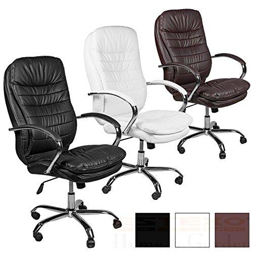 ESTEXO® Bürostuhl Drehstuhl Chefsessel schwarz weiß braun Schreibtisch Stuhl (Weiß)