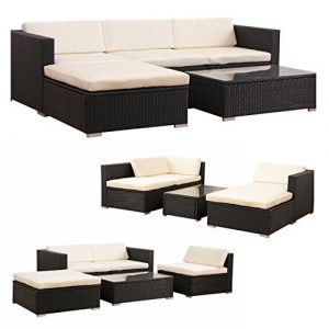 POLY RATTAN Lounge Gartenset SCHWARZ Sofa Garnitur Polyrattan Gartenmöbel Neu