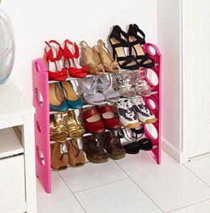 VINSANI Schuhregal mit 4Etagen Regal Organizer erhältlich in rosa schwarz und weiß Farbe rose
