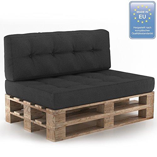 Palettenkissen Palettensofa Palettenpolster Kissen Sofa Polster Indoor Outdoor Sitz+Rückenkissen Anthrazit