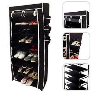 Todeco – Stoffschrank, Stoff-Garderobe – Material: Edelstahlrohre – Abschlusstyp: Klettteile und Reißverschluss – Schuhschrank, 6 Seitentaschen, 160 x 58 x 28 cm, Schwarz