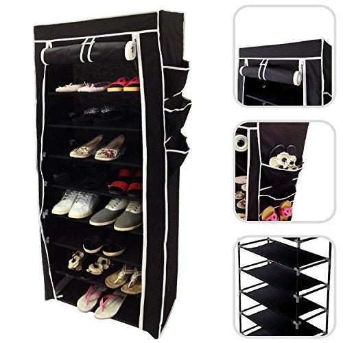 Todeco - Stoffschrank, Stoff-Garderobe - Material: Edelstahlrohre - Abschlusstyp: Klettteile und Reißverschluss - Schuhschrank, 6 Seitentaschen, 160 x 58 x 28 cm, Schwarz