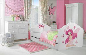 """Kleinkinder Kids Kinder Bett """"Mädchen mit Flügeln Größe 140x 70cm inc. Matratze und Schublade"""