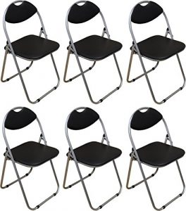 Packung mit 6 Stühlen – Schwarz Gepolsterte Folding Büro, Computer, Schreibtisch Stühle
