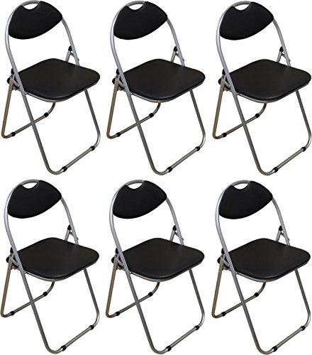 Packung mit 6 Stühlen - Schwarz Gepolsterte Folding Büro, Computer, Schreibtisch Stühle