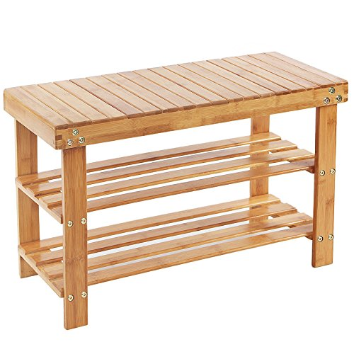 Songmics Schuhregal Schuhbank Sitzbank Schuhschrank  Bambus Garderobenbank bis max.150 kg 70 x 28 x 45 cm LBS04N
