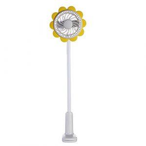 USB Mini Clip Fan Sunflower geformte Verstellbarer Wiederaufladbare Schreibtisch-Ventilator für Büro Schule Home klein natur Wind 1200mAh, plastik, gelb, FAN