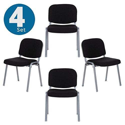 hjh OFFICE 704530 4er Set Besucherstuhl XT 600 Stoff-Bezug Schwarz / Silber Konferenzstuhl gepolstert, stapelbar