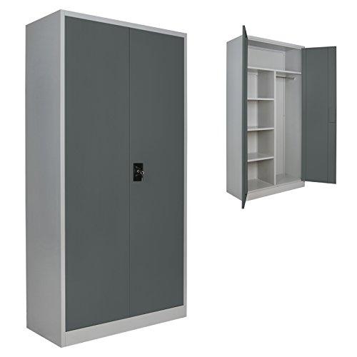 4er Set Putzmittelschrank Universalschrank Spind 180 x 90 x 40 cm Metallschrank Schließfachschrank Wertfachschrank mit Einlegeböden und Kleiderstange, Farbe:Grau-Dunkelgrau