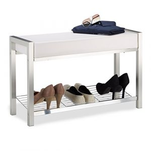 Relaxdays Schuhbank Metall, Gepolsterte Sitzbank mit Schuhablage, Kunstleder, Garderobenbank Hxbxt: 47x80x31 cm Design, PVC Stahl, Weiß, 31 x 80 x 47 cm