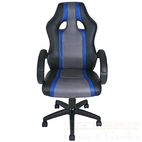 Bürostuhl Racing Blau Drehstuhl Schreibtischstuhl Chefsessel Bürosessel Stuhl