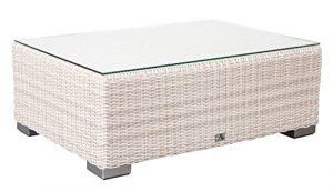 Adriatico Lounge Couchtisch B 90 x T 63 x H 32 cm mit Glasplatte Polyrattanfarben white kubu 5mm