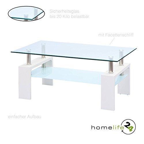Couchtisch Wohnzimmertisch Tisch Glas Weiß Wohnzimmer Tisch Beistelltisch 110x60 cm