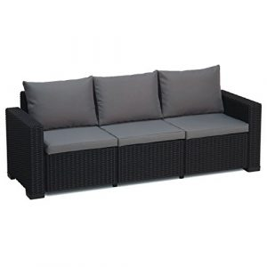 Allibert California graphit grau 3-Sitzer Rattan Outdoor Garden Patio Sofa mit Kissen