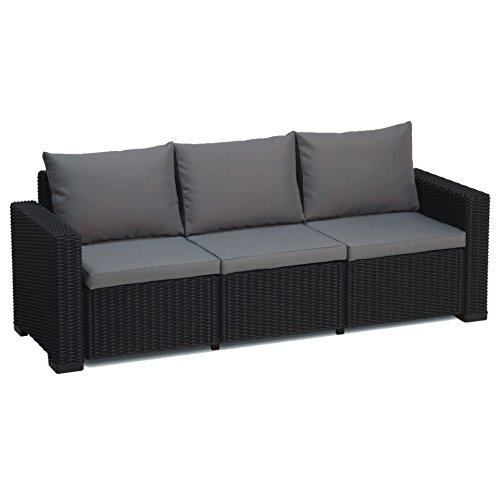 Allibert California graphit grau 3-Sitzer Rattan Outdoor Garden Patio Sofa mit Kissen