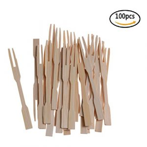 37yimu 100 PCS 8,9 cm Bamboo Mini Gabeln Buffet Fruit Picks