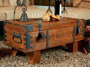 Alte Truhe Kiste Tisch shabby chic Holz Beistelltisch Holztruhe Couchtisch 37 cm Höhe / 38,5 cm Tiefe / 77 cm Breite