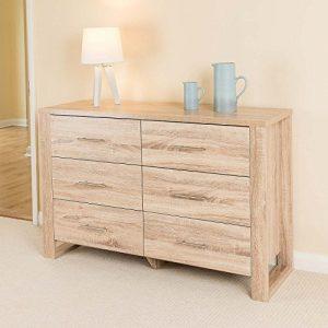 Christow Eiche Effekt 6 Schublade Schlafzimmer Schrank Nachttisch Kommode