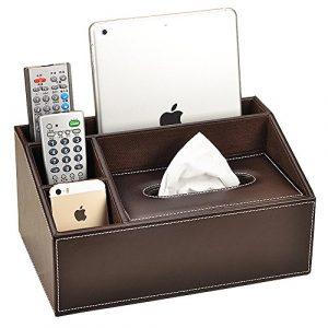 VANCORE Aufbewahrungsbox 4Fächer PU-Leder Fernbedienung-Halter Schreibtisch-Organizer coffee
