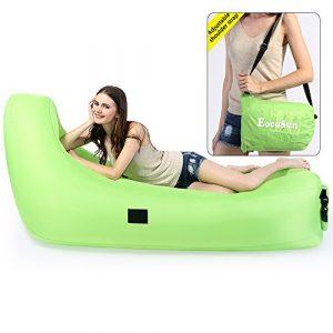 Air Lounge, Ecousun aufblasbares Luftsofa mit Rückenschonung, Wasserdicht aufblasbarer Sitzsack Air sofa Airbag Liege Chillbag, Aufblasbare Luftsack mit Tragetasche, für In- & Outdoor (Grün)