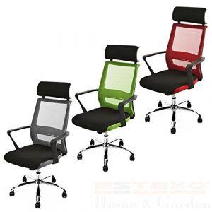 ESTEXO® Bürostuhl mit Kopfstütze Schreibtischstuhl Design Drehstuhl Stuhl Mesh Netz (Schwarz / Rot)