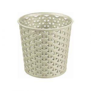 Curver Aufbewahrungsbehälter, rund, Kunst-Rattan, praktischer Becher, schafft Ordnung auf Kommode, Farbe: Weiß